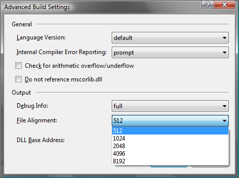 File Alignment Property on C# Projects Dialog